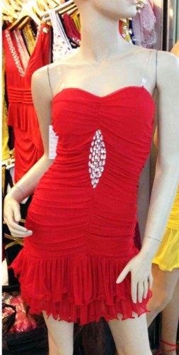 Qiyun Frauen Tiered Rüschen Trägerlosen Stretch Bodycon Bling Pailletten Nacht Clubwear Kurzen Kleid Rot Damen Kleider - 2