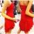 Qiyun Frauen Tiered Rüschen Trägerlosen Stretch Bodycon Bling Pailletten Nacht Clubwear Kurzen Kleid Rot Damen Kleider - 3