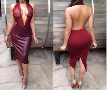 QIYUN.Z Damen Schwarz/Rotbraun Pu-Leder Furcal Kleidstickerei Backless Durchsichtigen Slim - 2