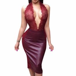 QIYUN.Z Damen Schwarz/Rotbraun Pu-Leder Furcal Kleidstickerei Backless Durchsichtigen Slim - 1