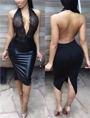 QIYUN.Z Damen Schwarz/Rotbraun Pu-Leder Furcal Kleidstickerei Backless Durchsichtigen Slim -