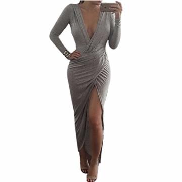 QIYUN.Z Sexy Tiefem V-Ausschnitt Grau Bodycon Frauen Langarm-Hoch Split Cocktail-Kleid - 1