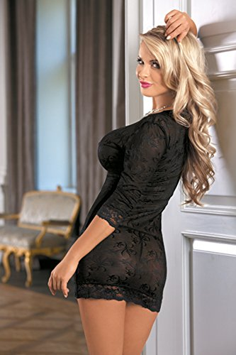 r-dessous mini Kleid Clubwear Dress Club Party Minikleid schwarz transparent erotische Dessous Groesse: S/M - 3