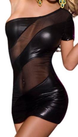 R-Dessous Partykleid schwarzes Mini Kleid erotische Dessous, Schwarz, Herstellergroesse S/M (34-36-38) - 1