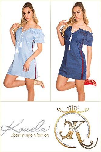 Rassiges Carmen-Minikleid mit Kurzen Volant-Ärmel und Kontrast-Streifen M/L - 7