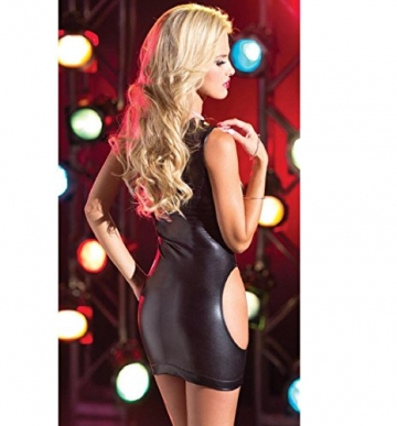Rcool Damen Lack Dessous elastische ärmellose trägerlosen Kleid Clubwear figurbetonten Rock (Schwarz) -