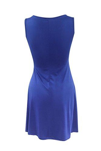 Rcool Lässige ärmellose Abend Party kurze Mini-Kleid für Frauen Damen (M, Blau) -