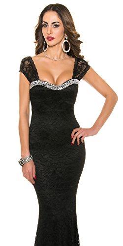 Red-Carpet-Look!Gala-kleid mit Perlen schwarz -