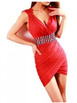 Red Stretch Bling Strass V-Ausschnitt Mini Clubwear Abend Cocktailkleid Damen Kleider - 1
