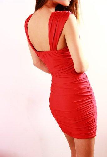Red Stretch Bling Strass V-Ausschnitt Mini Clubwear Abend Cocktailkleid Damen Kleider - 2