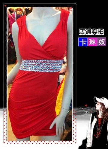 Red Stretch Bling Strass V-Ausschnitt Mini Clubwear Abend Cocktailkleid Damen Kleider - 3