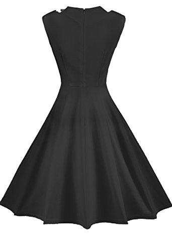 REPHYLLIS Damen 1950er Vintage Sommer Cocktailkleid Faltenrock Party Swing Kleid(S,Schwarz) -