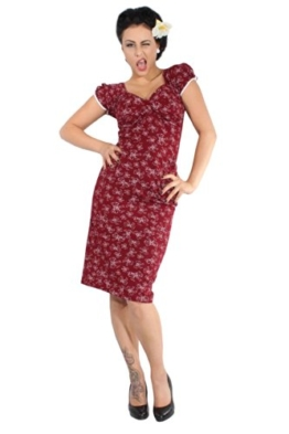 RETRO Pin Up Schleifen Rockabilly Bleistift Rock Pencil BOW Kleid weinrot - 1