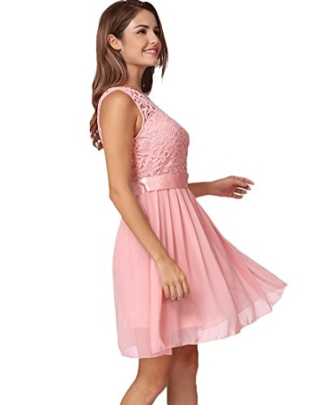 Romacci Damen Chiffon Spitze Kleid Sleeveless O Ansatz Normallack Elegante Prinzessin Party Kleid - 2