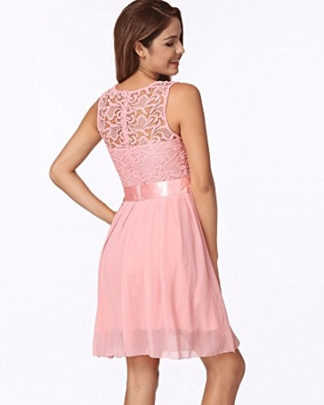 Romacci Damen Chiffon Spitze Kleid Sleeveless O Ansatz Normallack Elegante Prinzessin Party Kleid - 3