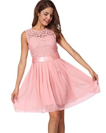 Romacci Damen Chiffon Spitze Kleid Sleeveless O Ansatz Normallack Elegante Prinzessin Party Kleid - 1