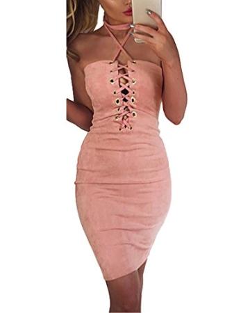 Romacci Damen Off Schulter Kleid Halter Crisscross Bandage Bodycon Kleid Party Clubwear - 1