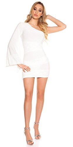 Romantisches One-Arm-Minikleid mit Spitzen-Besatz S - 5