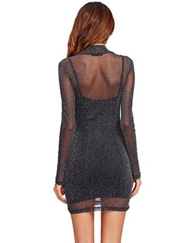 ROMWE Damen 2-in-1 Figurbetones Kleid mit Tüll-Oberteil Bodycon Cocktailkleid Partykleid Schwarz XS - 2