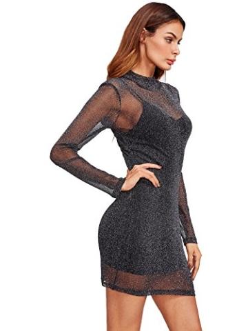 ROMWE Damen 2-in-1 Figurbetones Kleid mit Tüll-Oberteil Bodycon Cocktailkleid Partykleid Schwarz XS - 3