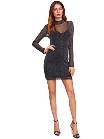 ROMWE Damen 2-in-1 Figurbetones Kleid mit Tüll-Oberteil Bodycon Cocktailkleid Partykleid Schwarz XS - 5