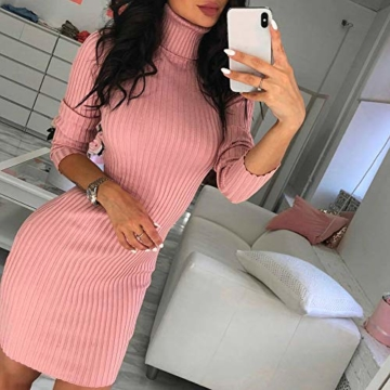 Rosennie Damen Kurz Strickkleid Herbst Winter Pullover Kleid Strickpulli Rollkragen Lose Sweater Lang Oberteile Jumper Sweaters Frauen Solid Casual Dress Lange Pullover Minikleid(Rosa,XL) - 2