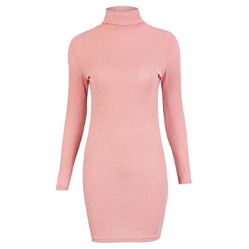 Rosennie Damen Kurz Strickkleid Herbst Winter Pullover Kleid Strickpulli Rollkragen Lose Sweater Lang Oberteile Jumper Sweaters Frauen Solid Casual Dress Lange Pullover Minikleid(Rosa,XL) - 3