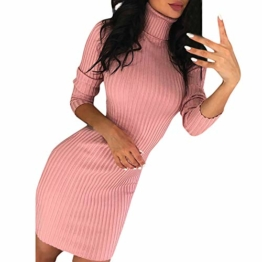 Rosennie Damen Kurz Strickkleid Herbst Winter Pullover Kleid Strickpulli Rollkragen Lose Sweater Lang Oberteile Jumper Sweaters Frauen Solid Casual Dress Lange Pullover Minikleid(Rosa,XL) - 1