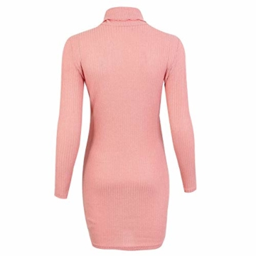 Rosennie Damen Kurz Strickkleid Herbst Winter Pullover Kleid Strickpulli Rollkragen Lose Sweater Lang Oberteile Jumper Sweaters Frauen Solid Casual Dress Lange Pullover Minikleid(Rosa,XL) - 5