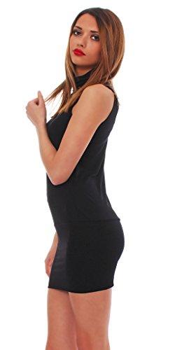 Roset Japan Style von Mississhop Sexy Minikleid- Tunika mit Kragen Japan Style Schwarz L - 4