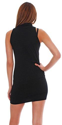 Roset Japan Style von Mississhop Sexy Minikleid- Tunika mit Kragen Japan Style Schwarz L - 5