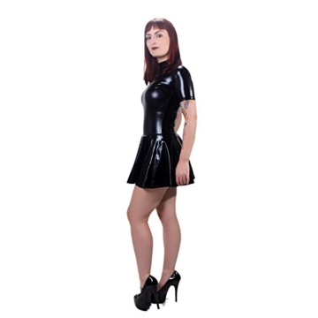 Rubberfashion Wetlook Minikleid, glänzendes Wetlookkleid mit hohem Kragen, kurzen Ärmeln und Slip mit separatem Schrittreißverschluss für Frauen Stück metallic Schwarz XXL - 2