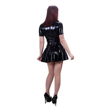 Rubberfashion Wetlook Minikleid, glänzendes Wetlookkleid mit hohem Kragen, kurzen Ärmeln und Slip mit separatem Schrittreißverschluss für Frauen Stück metallic Schwarz XXL - 3