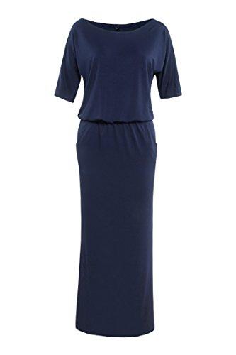 RUIGO Damen Schulterfreies Schlitz-Tasche Partei-Kleid-Maxi langes Abendkleid (EU 38, Dunkelblau) -