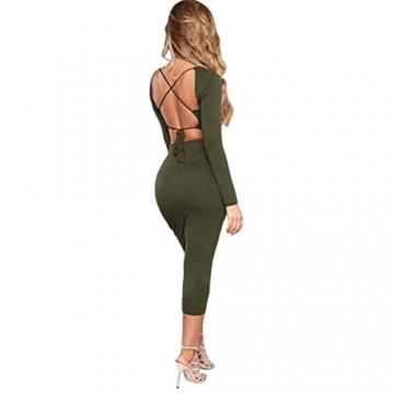 Sannysis Damen Backless Verband Bodycon Cocktail-Minikleid (S, Grün) -
