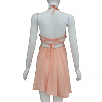 Sannysis Damen Chiffon Backless Kreuz-Partei-Kleid Abend-Minikleid (S, Rosa) -
