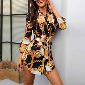 SANNYSIS Damen Langarm Hemdkleid V-Ausschnitt Elegant Kurz Blusenkleid Sexy Shirt Kleid Oberteil Kleid Bodycon Minikleid mit Gürtel Boho Drucken Sommerkleid Kleider (S, Weiß) - 2
