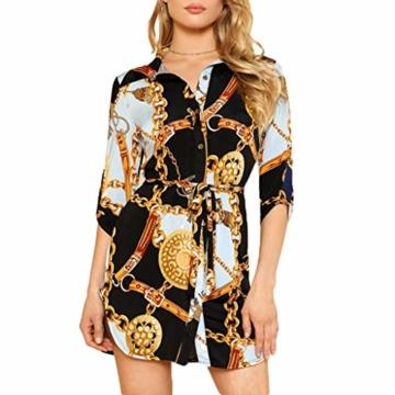 SANNYSIS Damen Langarm Hemdkleid V-Ausschnitt Elegant Kurz Blusenkleid Sexy Shirt Kleid Oberteil Kleid Bodycon Minikleid mit Gürtel Boho Drucken Sommerkleid Kleider (S, Weiß) - 3