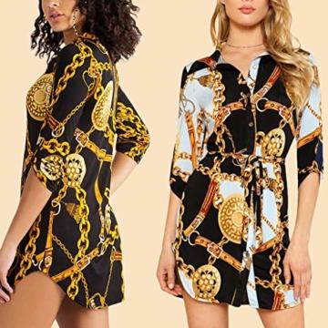 SANNYSIS Damen Langarm Hemdkleid V-Ausschnitt Elegant Kurz Blusenkleid Sexy Shirt Kleid Oberteil Kleid Bodycon Minikleid mit Gürtel Boho Drucken Sommerkleid Kleider (S, Weiß) - 4