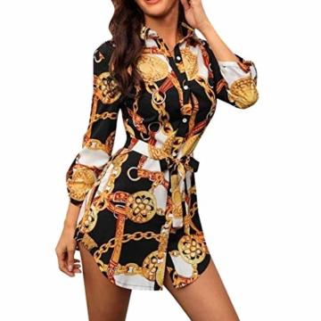 SANNYSIS Damen Langarm Hemdkleid V-Ausschnitt Elegant Kurz Blusenkleid Sexy Shirt Kleid Oberteil Kleid Bodycon Minikleid mit Gürtel Boho Drucken Sommerkleid Kleider (S, Weiß) - 1