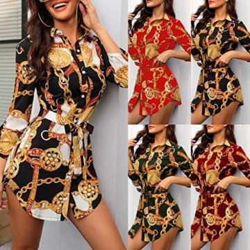 SANNYSIS Damen Langarm Hemdkleid V-Ausschnitt Elegant Kurz Blusenkleid Sexy Shirt Kleid Oberteil Kleid Bodycon Minikleid mit Gürtel Boho Drucken Sommerkleid Kleider (S, Weiß) - 5