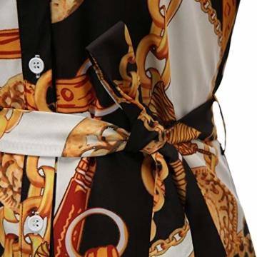 SANNYSIS Damen Langarm Hemdkleid V-Ausschnitt Elegant Kurz Blusenkleid Sexy Shirt Kleid Oberteil Kleid Bodycon Minikleid mit Gürtel Boho Drucken Sommerkleid Kleider (S, Weiß) - 6