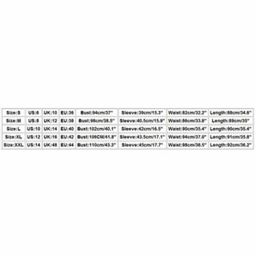 SANNYSIS Damen Langarm Hemdkleid V-Ausschnitt Elegant Kurz Blusenkleid Sexy Shirt Kleid Oberteil Kleid Bodycon Minikleid mit Gürtel Boho Drucken Sommerkleid Kleider (S, Weiß) - 7