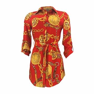 SANNYSIS Damen Langarm Hemdkleid V-Ausschnitt Elegant Kurz Blusenkleid Sexy Shirt Kleid Oberteil Kleid Bodycon Minikleid mit Gürtel Boho Drucken Sommerkleid Kleider (S, Rot) - 3