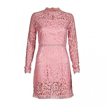 Sannysis Damen Rosa Höhle Spitze Langarm Schlankes Kleid Party Kleid (m) -