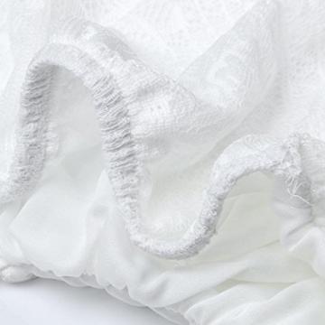 Sannysis Damen Sommer-Backless Kreuz-Partei-Abend-Spitze-Kleid (S, Weiß) -