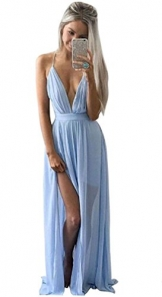Damen Sommer Boho Chiffon Lang Maxi Abend Party Clubwear Strandkleid Sommerkleid
