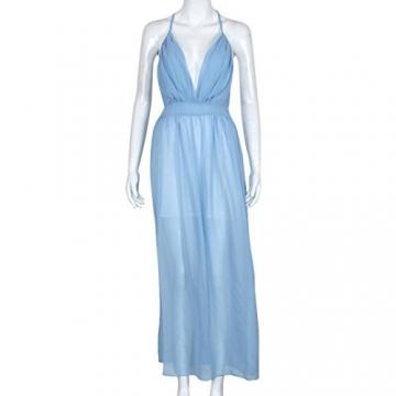 Sannysis Damen Sommer-Chiffon- Boho lange Maxi-Abend-Partei-Strand-Kleid (S, Blau) -
