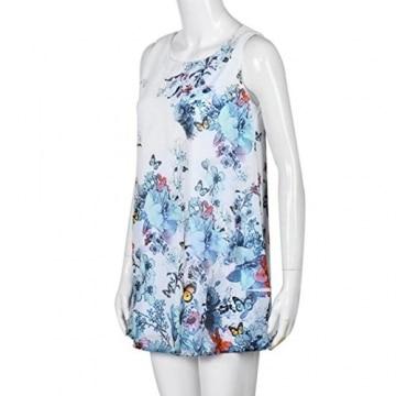 Sannysis Damen Vintage-Boho ärmellos Strand Printed Minikleid (S, Weiß) -