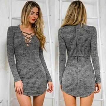 Sannysis Sexy Frauen Lace Up Langärmlig Elastizität Baumwollkleider Bodycon Minikleid (EU 36(Asia M)) - 2
